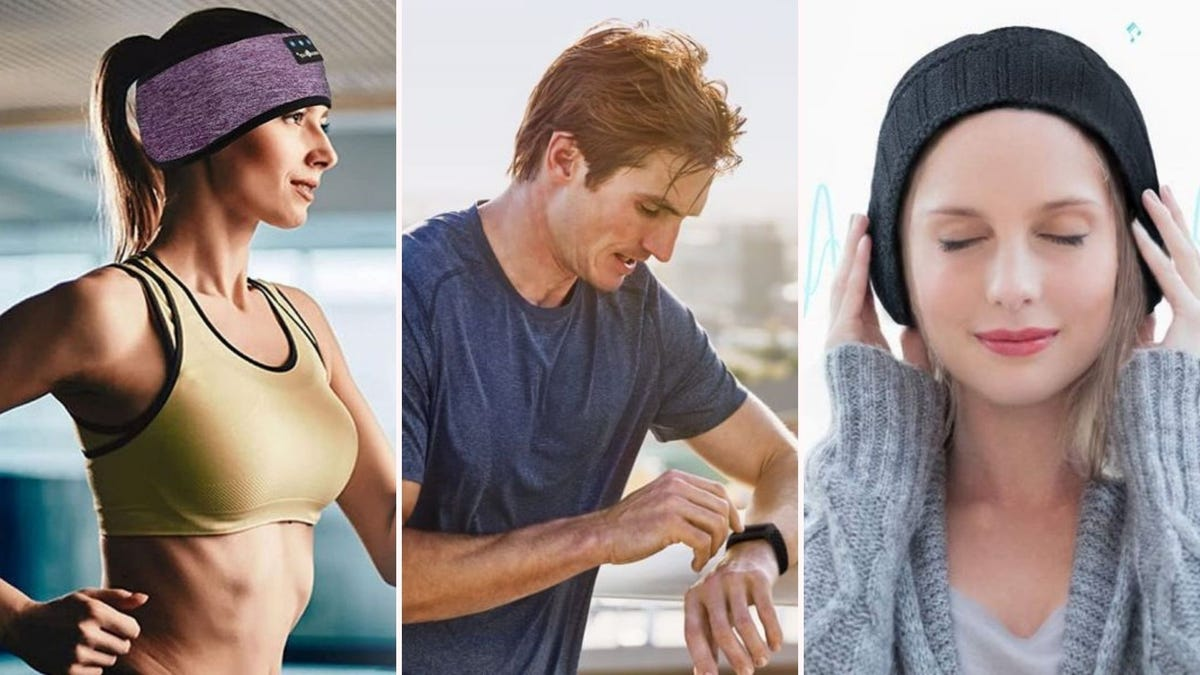 A woman wearing the MUSICOZY headband while running, a man looking at his Fitbit, and a woman wearing the GREENEVER Bluetooth beanie.