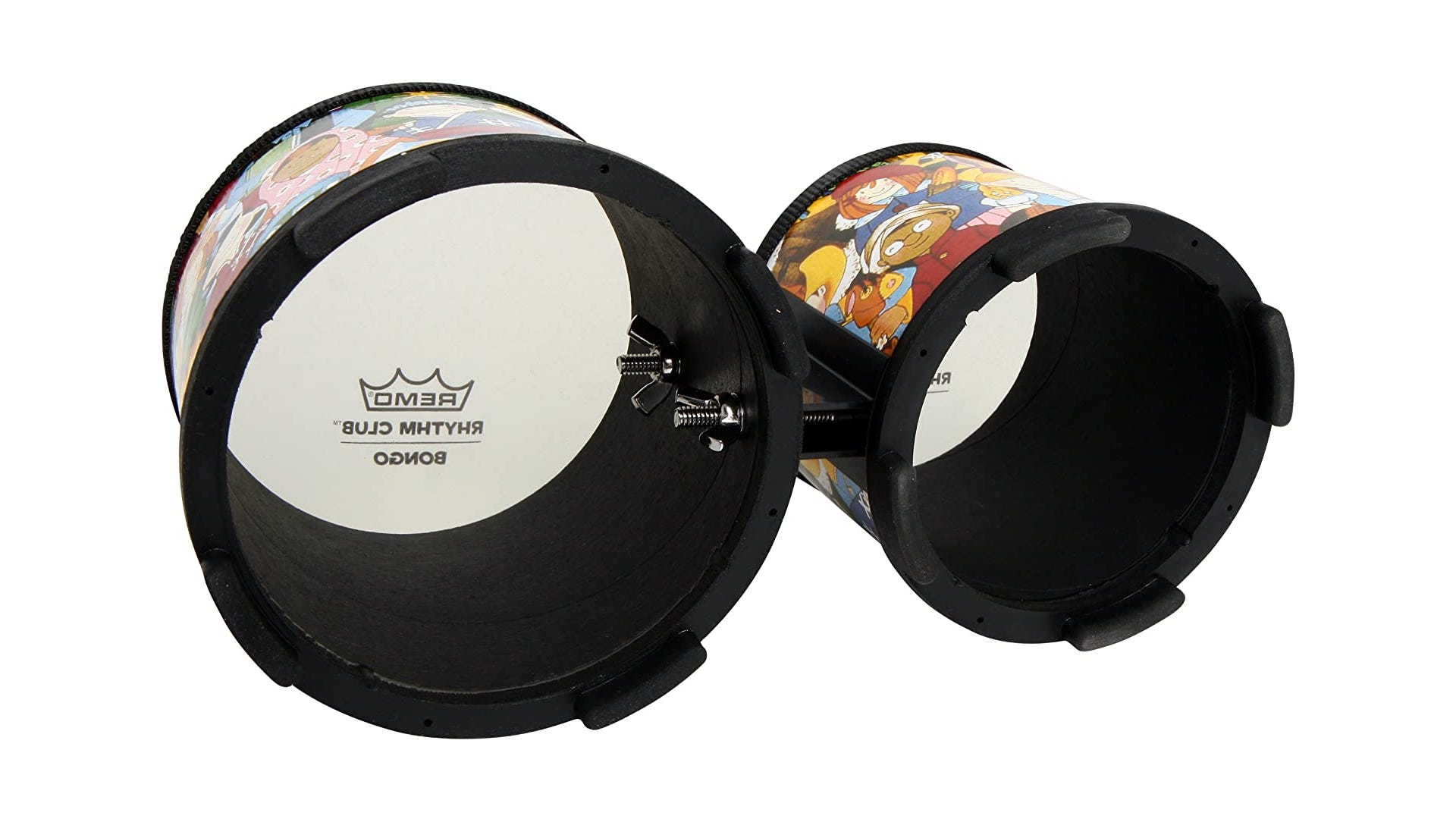 bottom view of bongos featuring a child-friendly design are displayed against a white background.