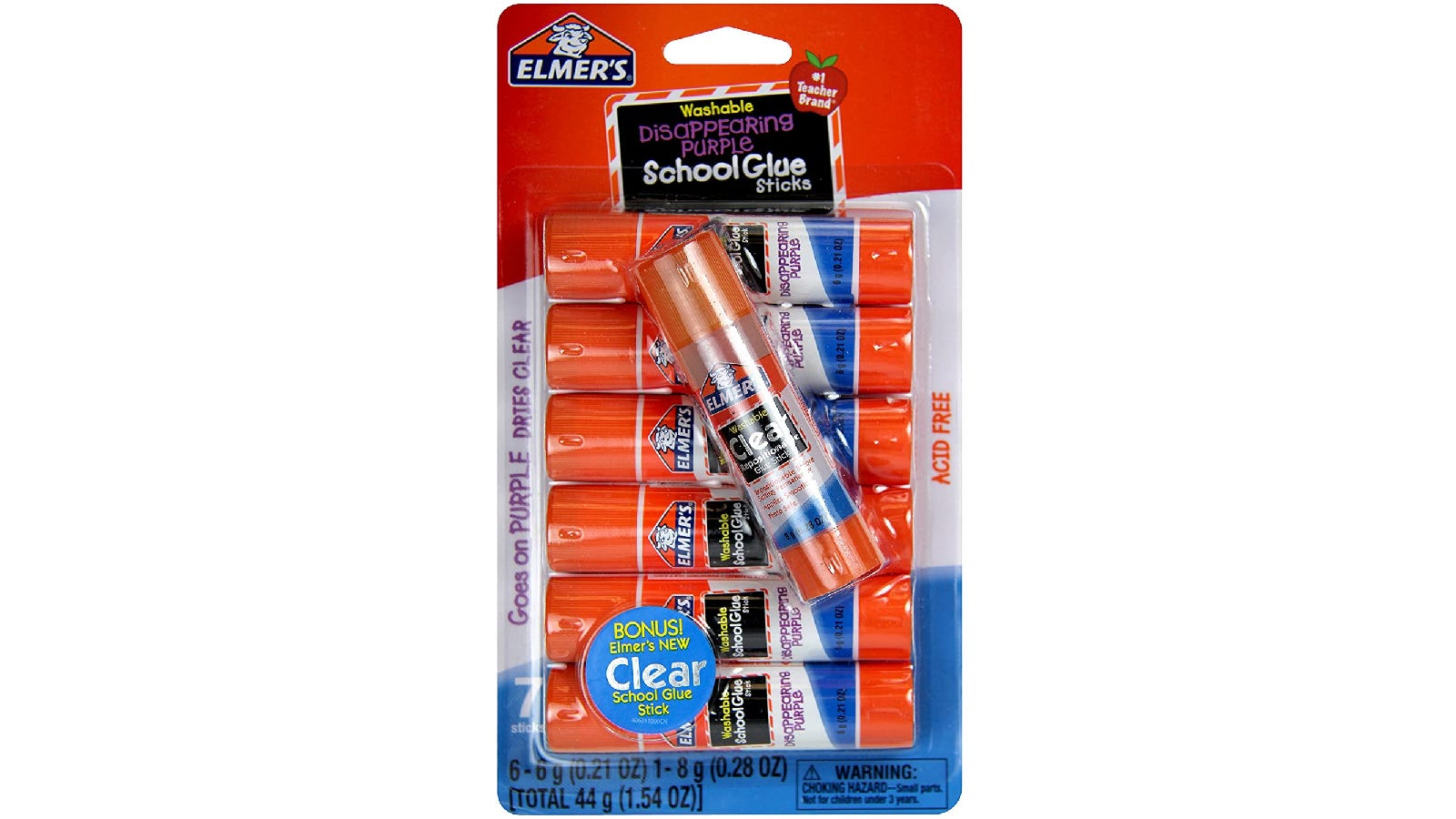 Orange, white, and blue package of seven glue sticks with a transparent cover.