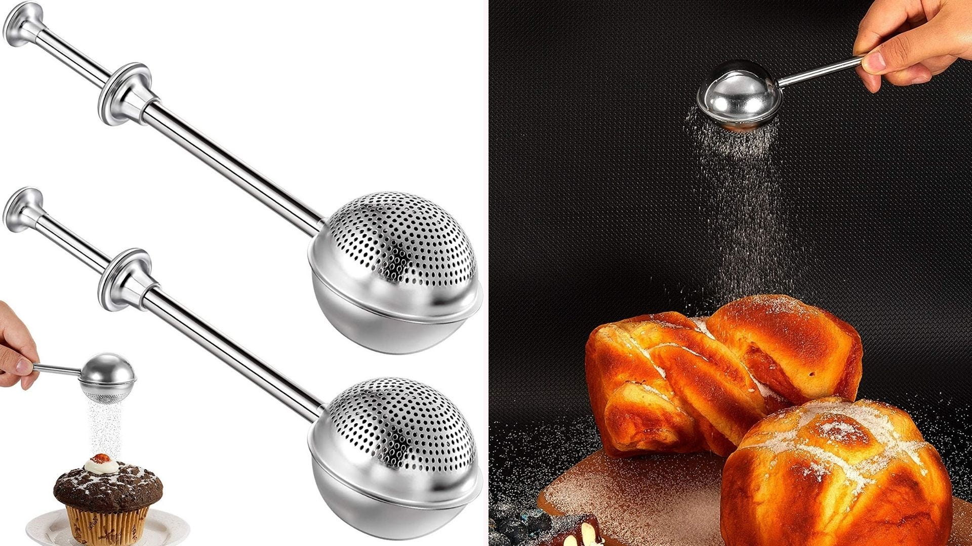 a silver rattle-like sugar dispenser with tiny holes to sprinkle sugar
