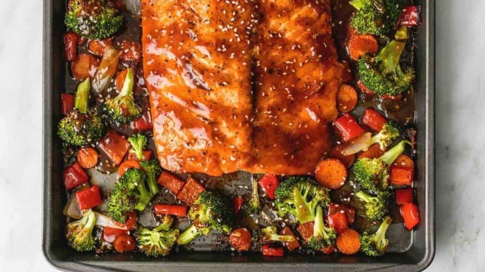 A sheet pan full of Teriyaki Salmon and Vegetables.