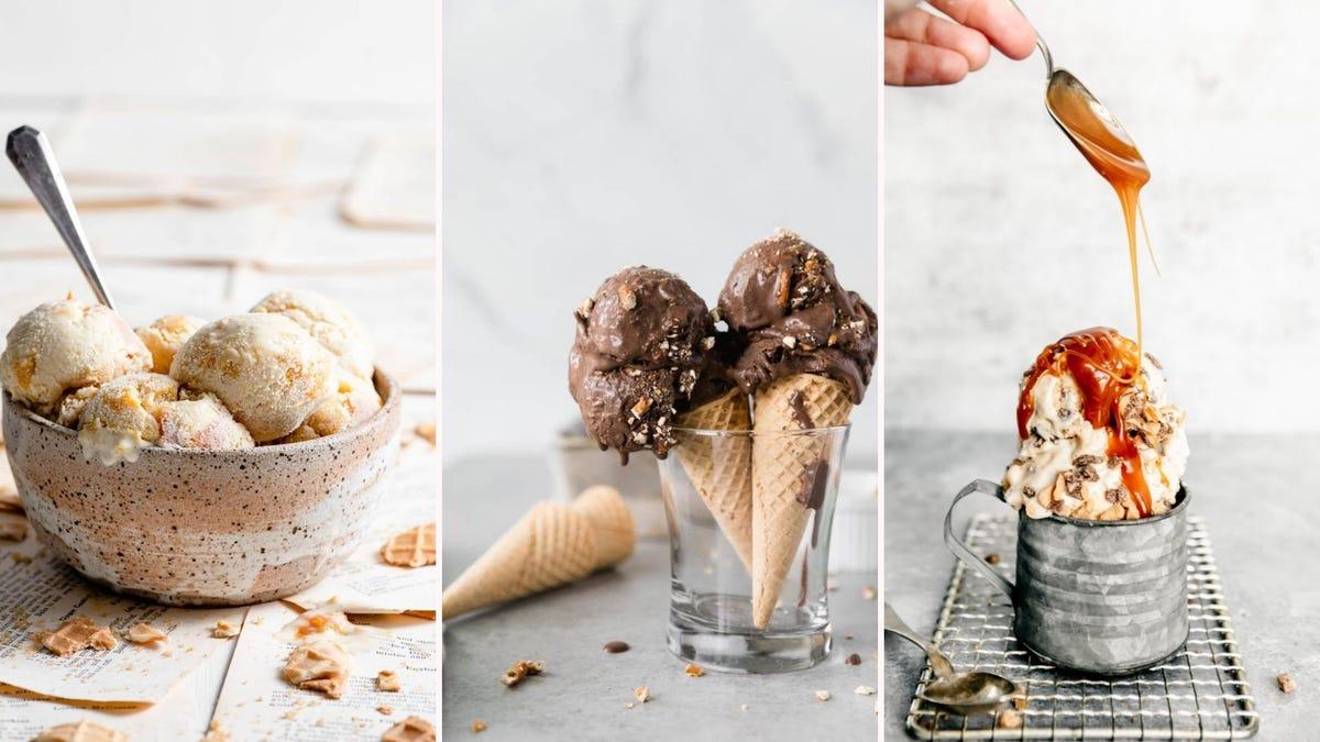 Bowl of peach ice cream; cones of chocolate pretzel ice cream; a silver mug of caramel toffee ice cream