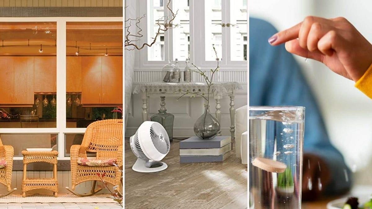 Слева - теплоизоляционная оконная пленка на окнах гостиной, в центре - белый вентилятор Vornado в гостиной, а справа - рука, опускающая таблетку электролита Nuun в стакан с водой.