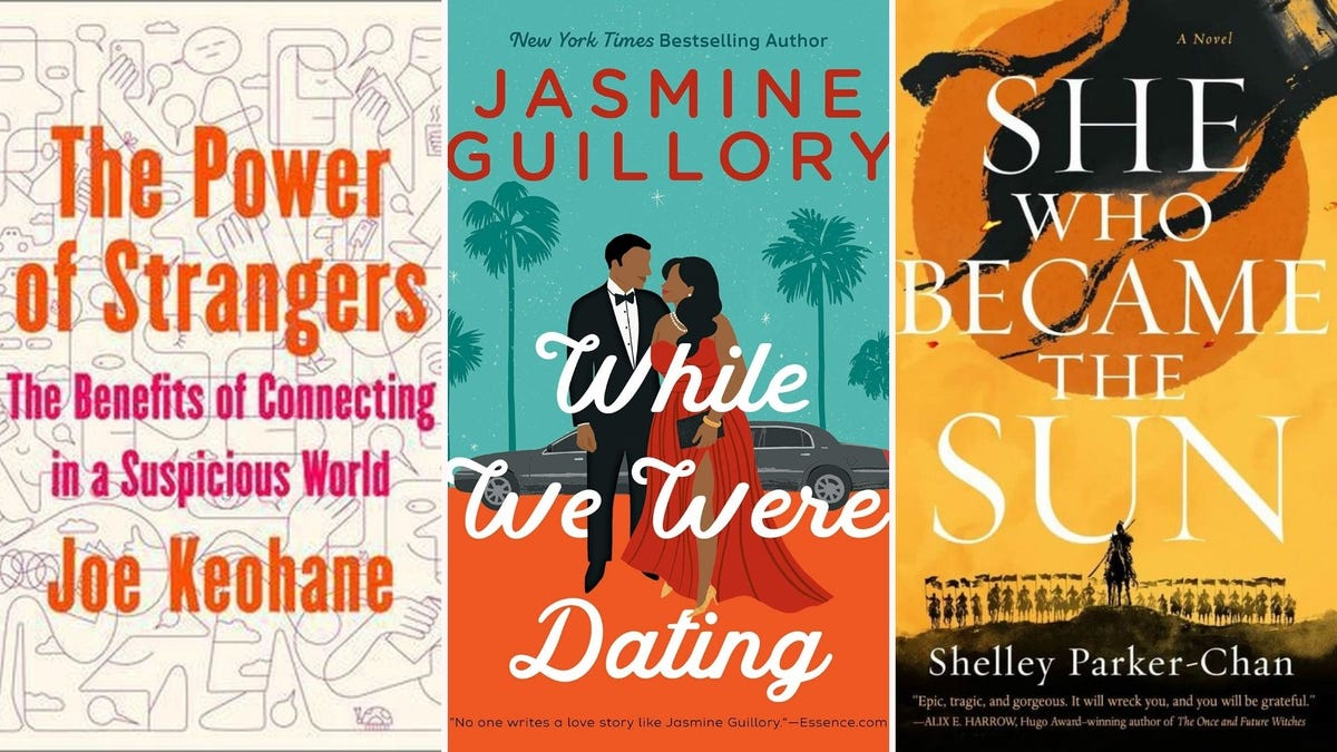 """Book covers for """"The Power of Strangers"""", """"While We Were Dating,"""" and """"She Who Became the Sun"""""""