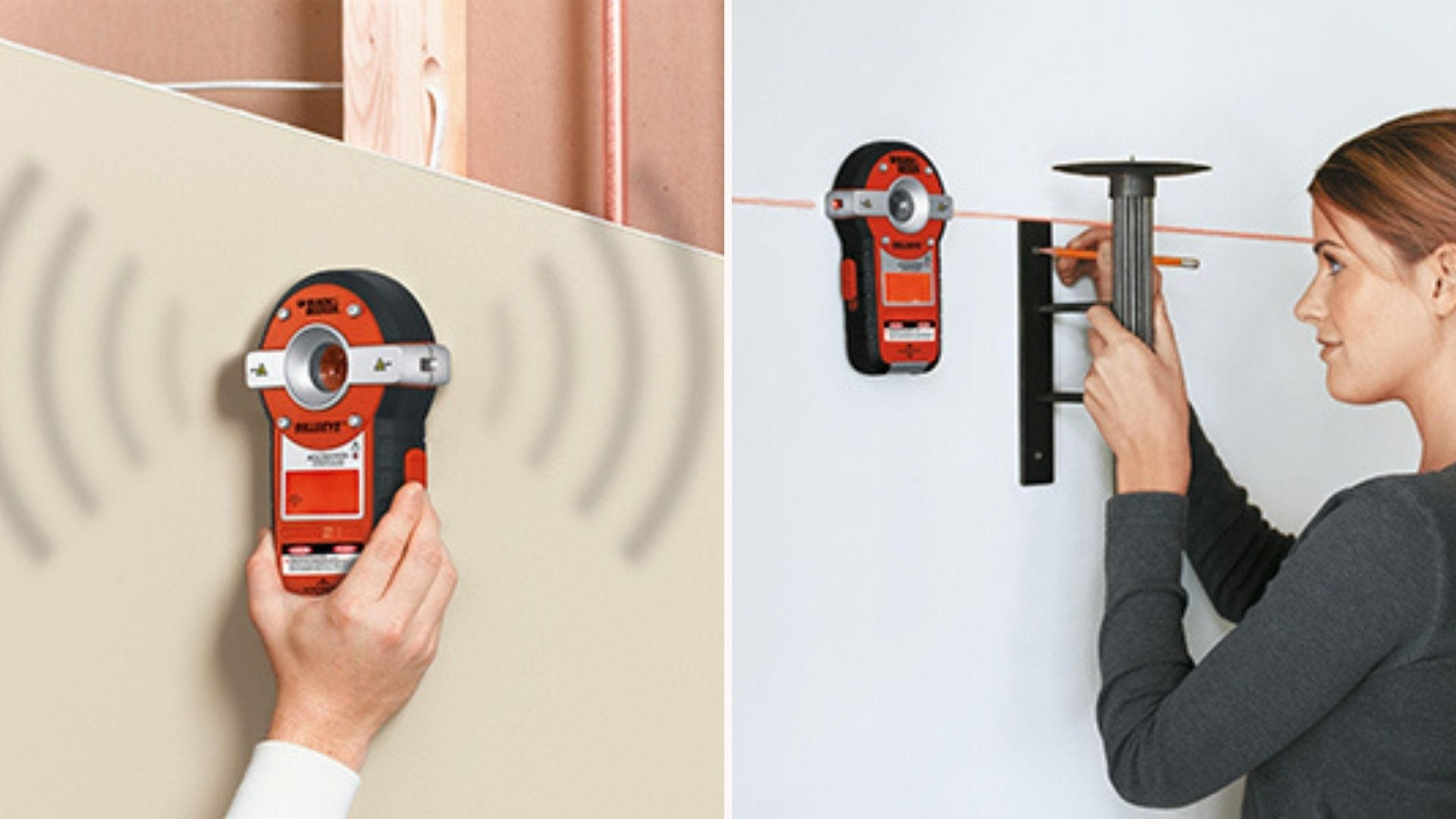 On the left, a black and orange stud finder alerts its user of a stud behind the wall. On the right, a woman marks the positioning of the stud while using the device's laser level feature.