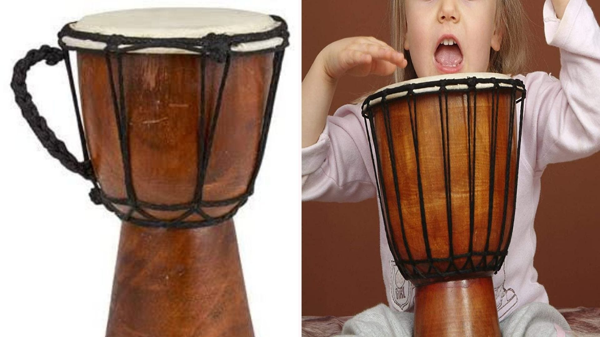 A wooden Djembe drum with a rope handle is displayed against a white background; a young girl is playing it on the right side.