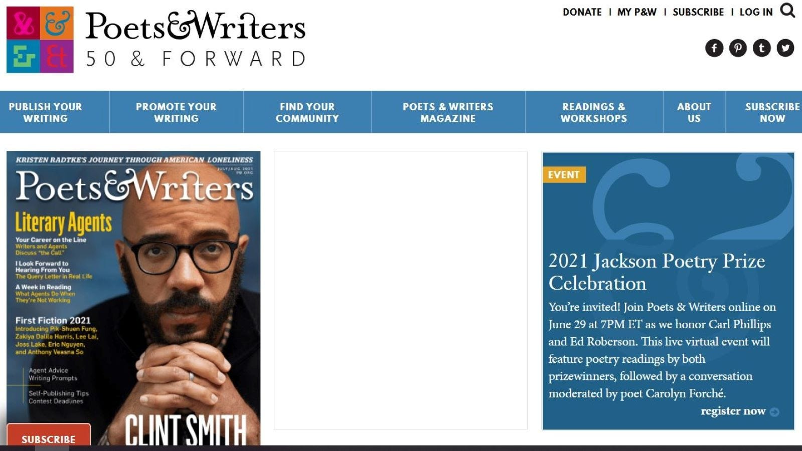 The 'Poets & Writers' website.