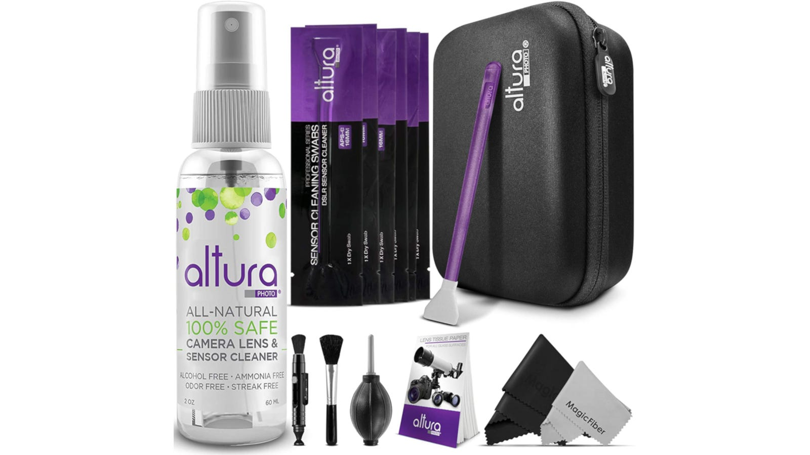 Camera lens cleaning kit set with case, sensor swabs, air blower, brush, and more