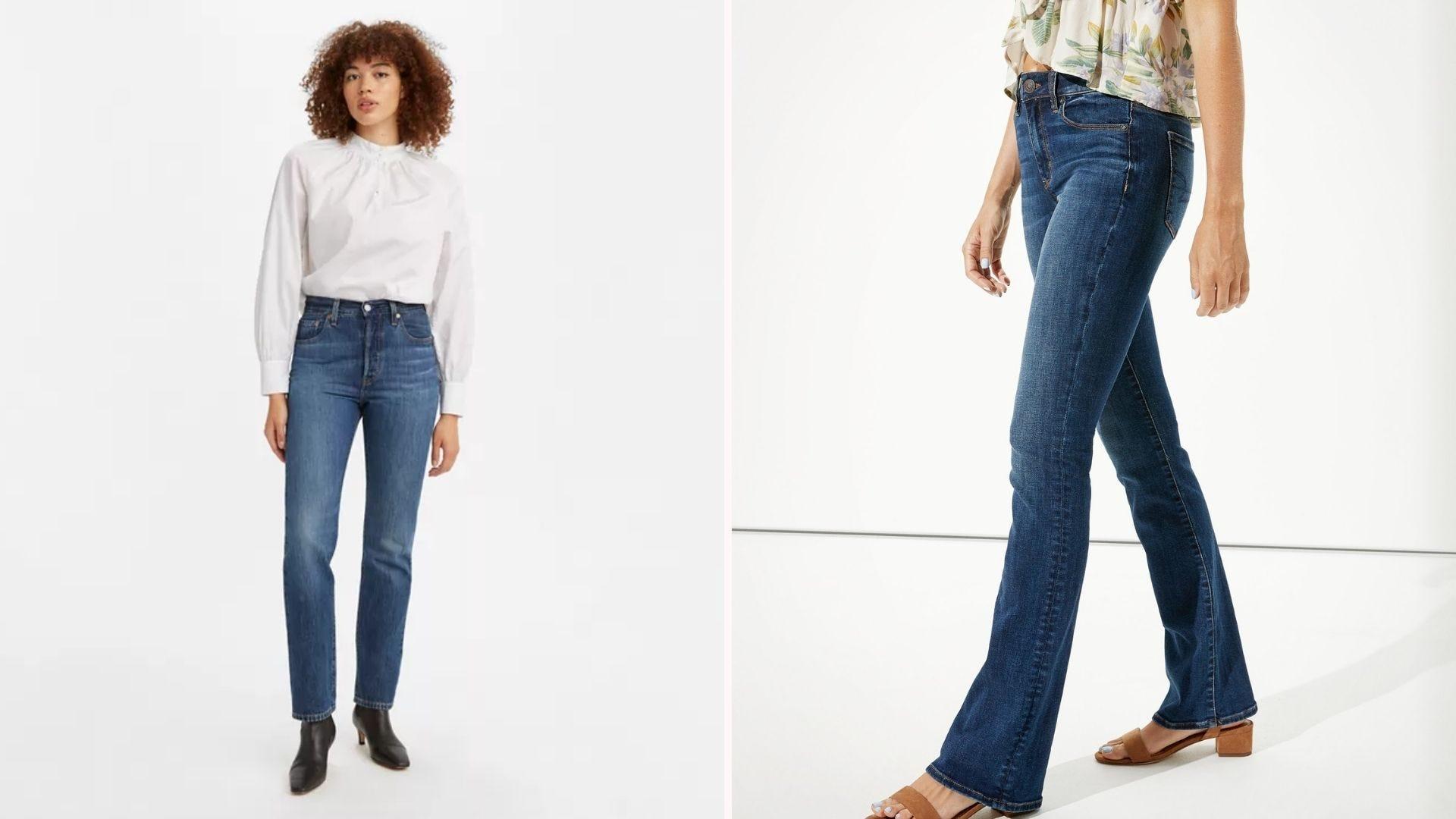 Two women wearing blue jeans