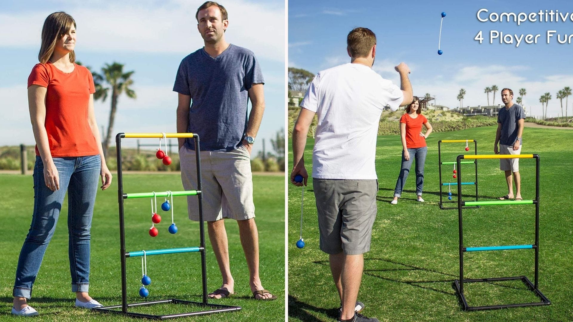 People playing ladderball on the grass