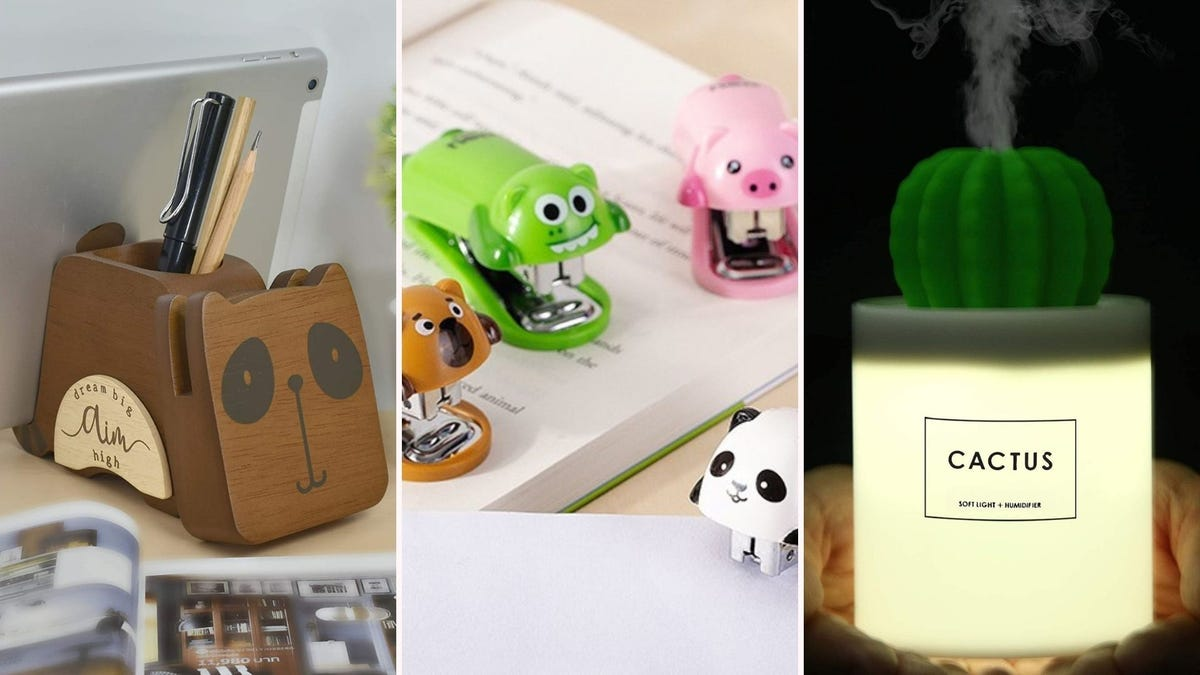 A racoon-shaped pen holder, animal-shaped staplers, and a cactus-shaped humidifier.