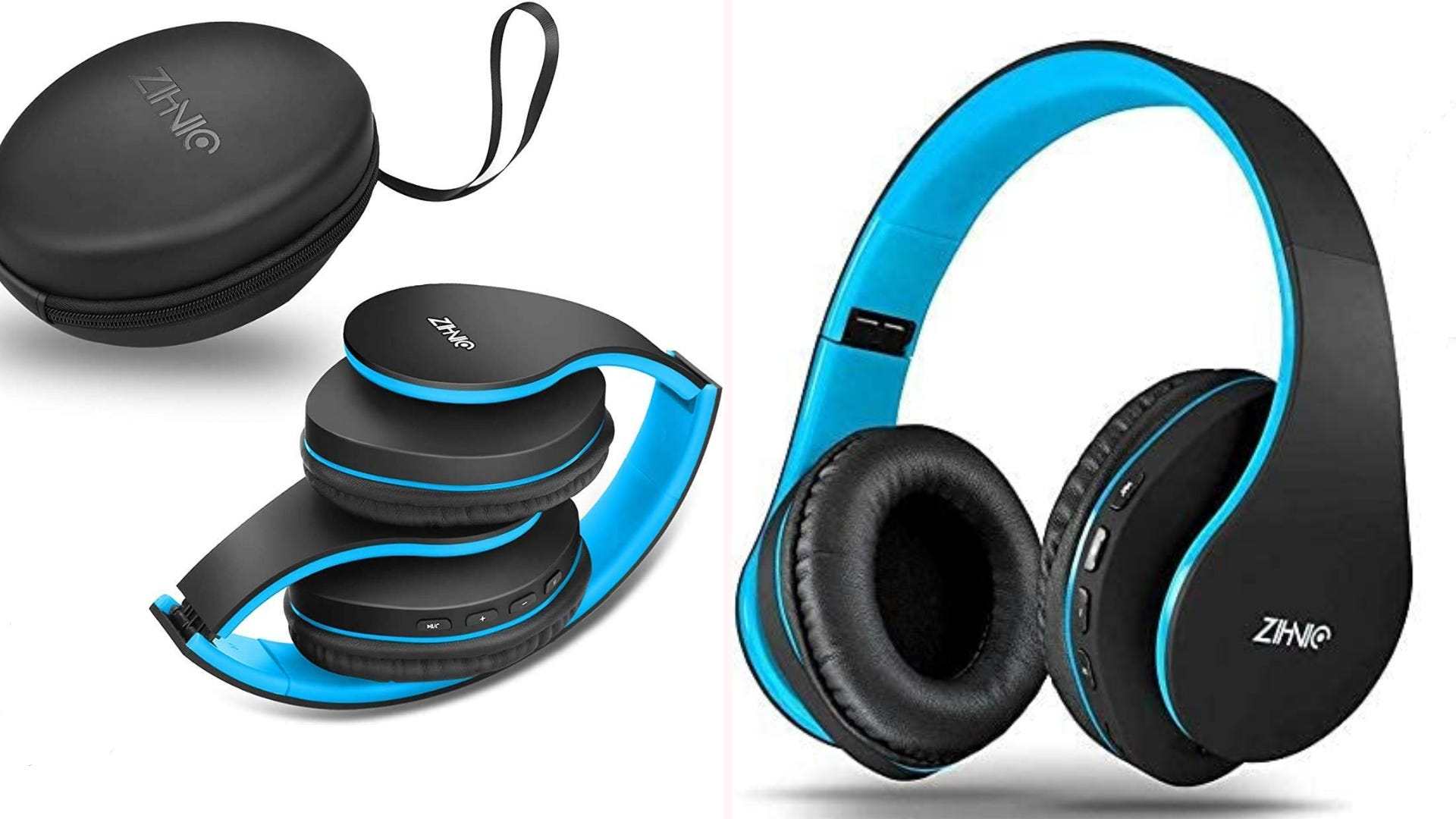 Blue and black foldable Bluetooth headphones with storage case