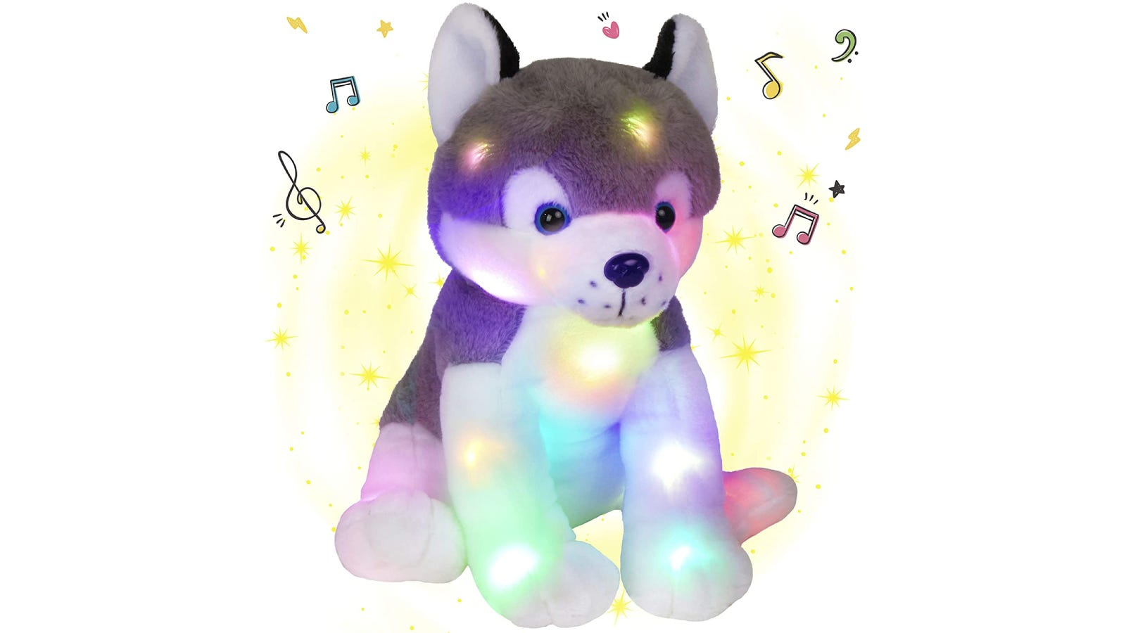 A husky stuffed animal glowing different colors and surrounded by musical notes.