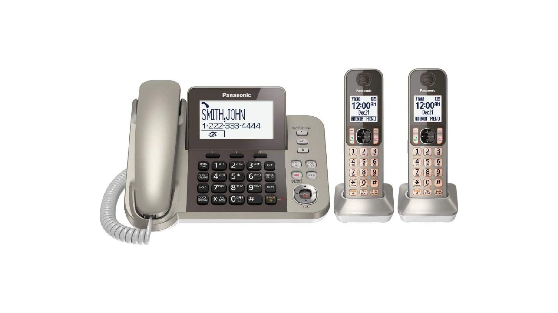 shiny light gray corded phone on a dark and light gray dial pad next to two matching cordless phones