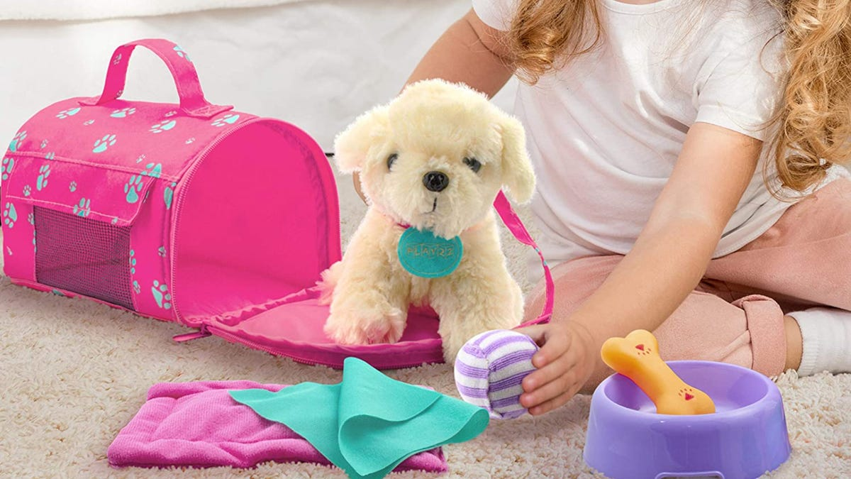 A young girl with long blonde hair plays with a toy ball and dog stuffed animal.