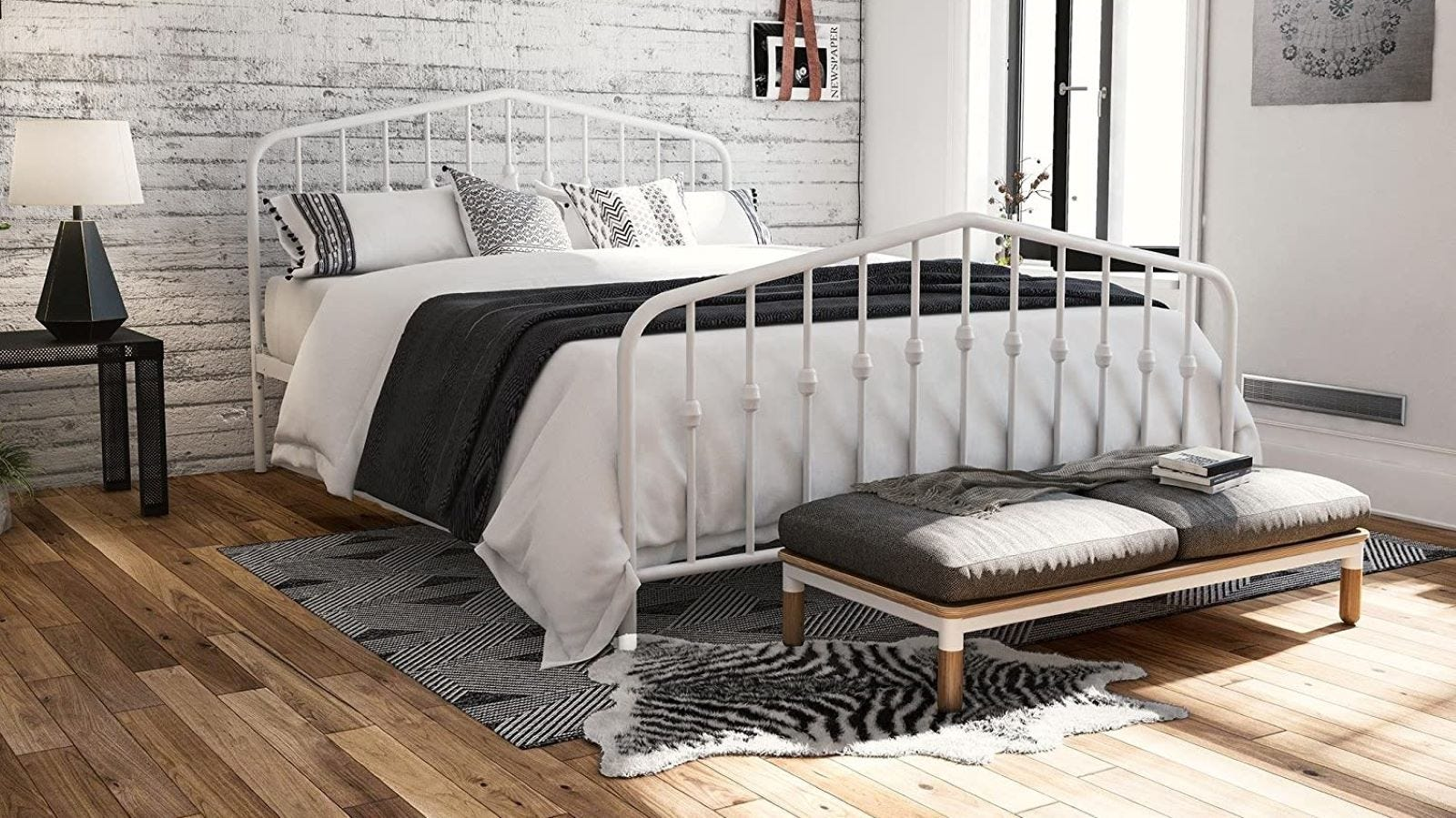 White metal queen size bed.