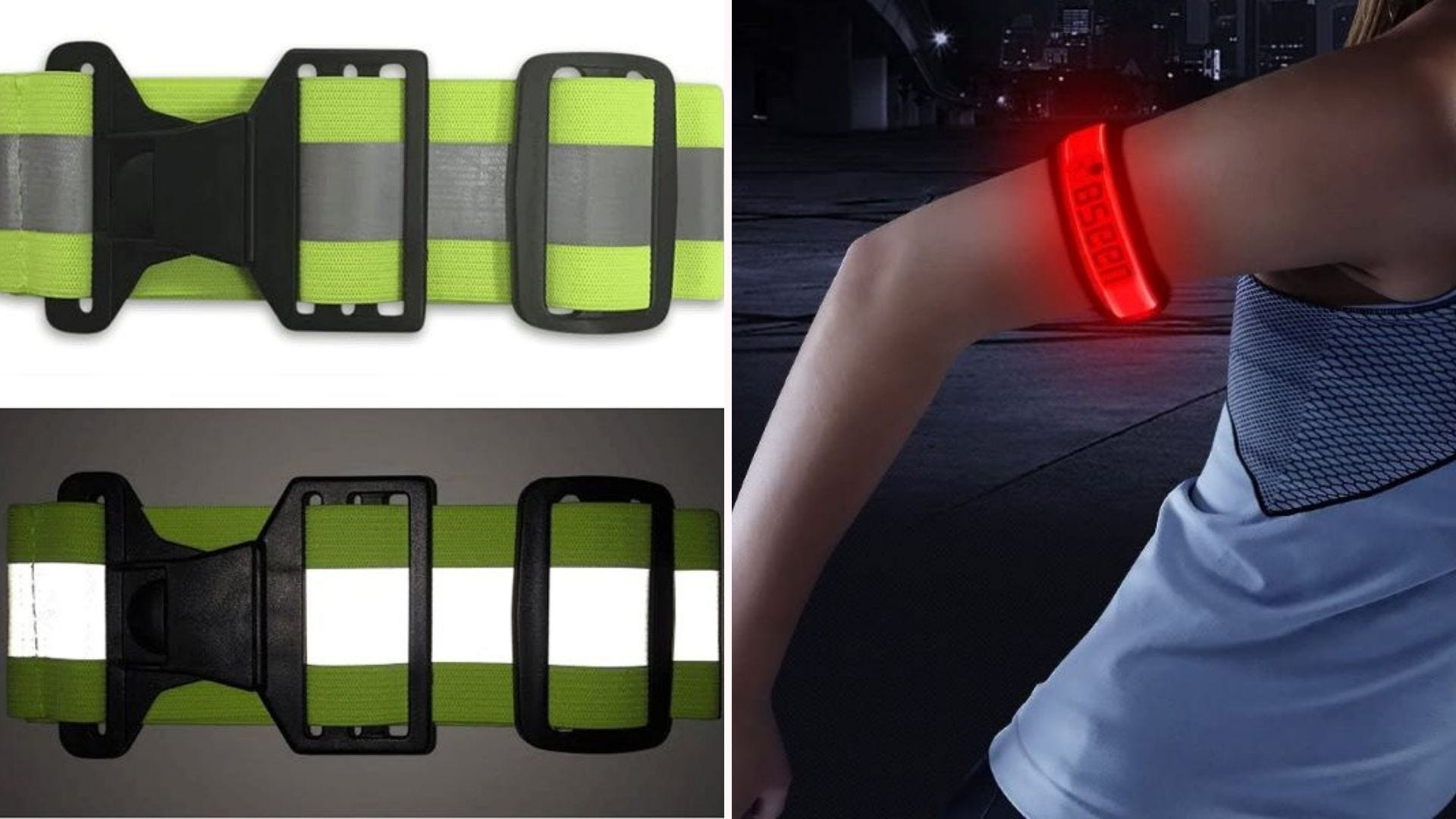 The Salty Lance Glow Belt and a woman wearing a red BSEEN LED armband.