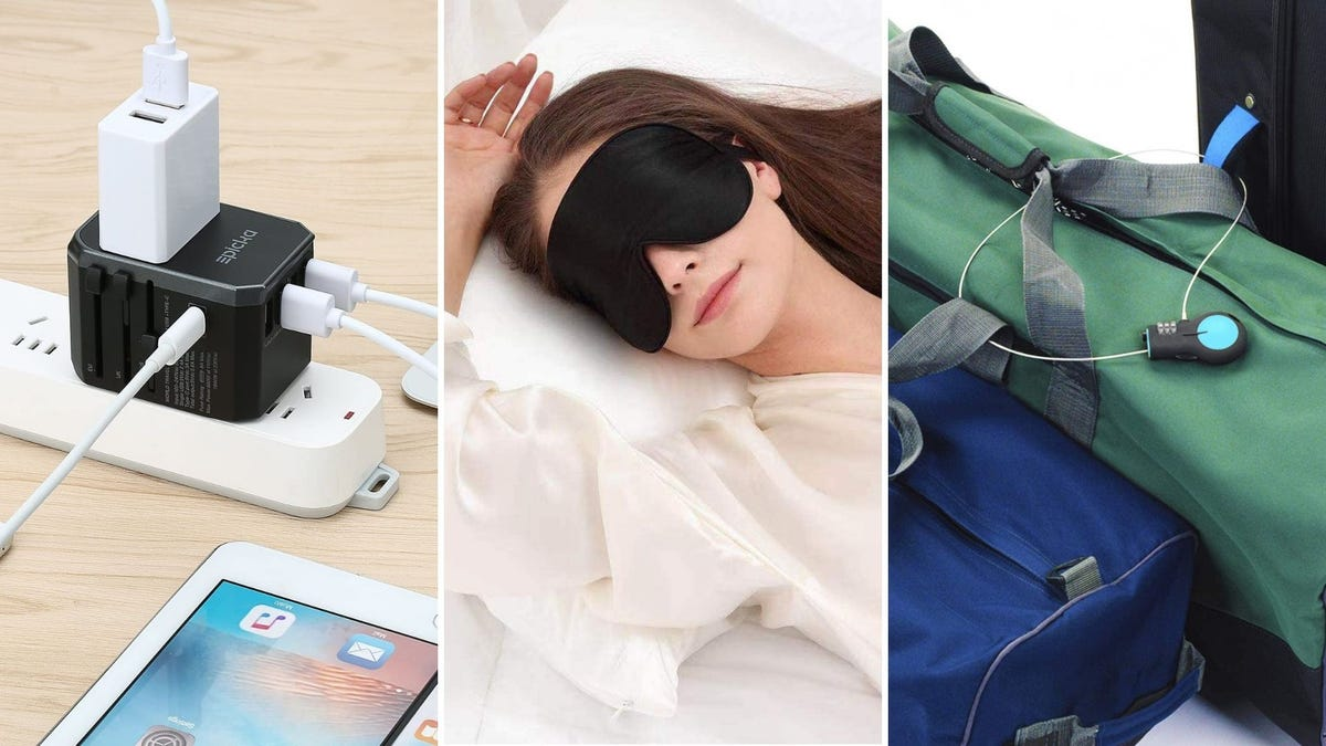 A universal charger is plugged in, someone sleeps with a sleeping mask on, a cable lock is tied around some luggage