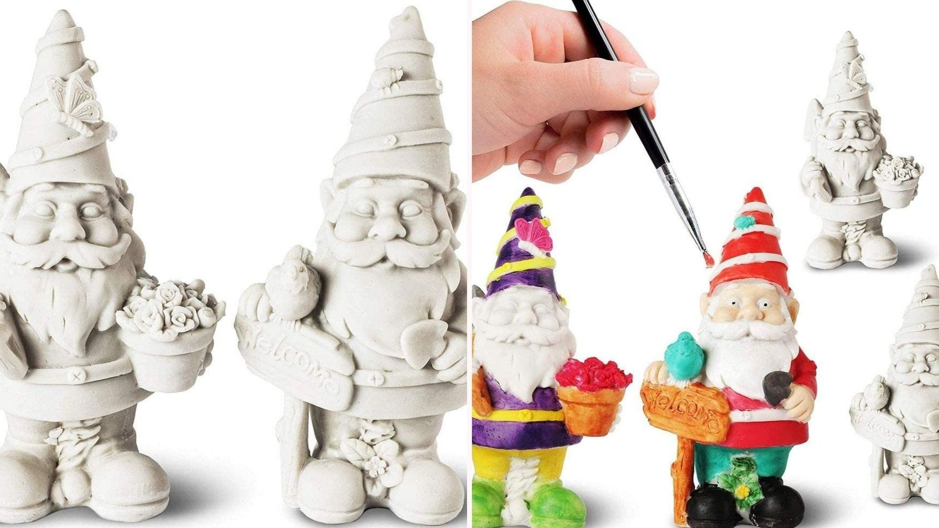 Hand paining a garden gnome. Four gnomes shown, two unpainted