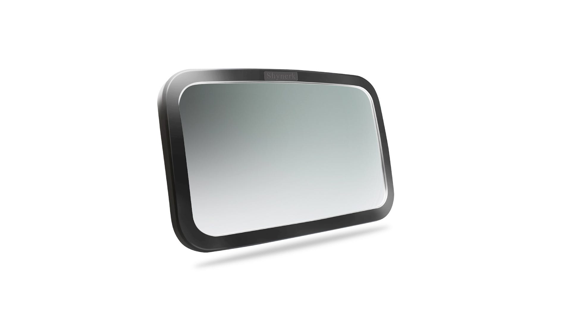 a baby car seat mirror with a black rim