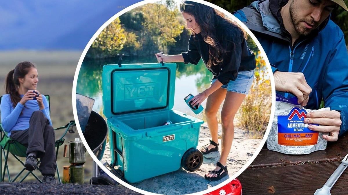 The Coletti coffee percolator, the YETI Tundra cooler, and a man opening a Mountain House Meal.