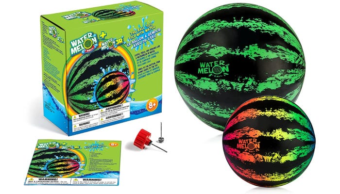 Two watermelon balls, packaging shown on the left