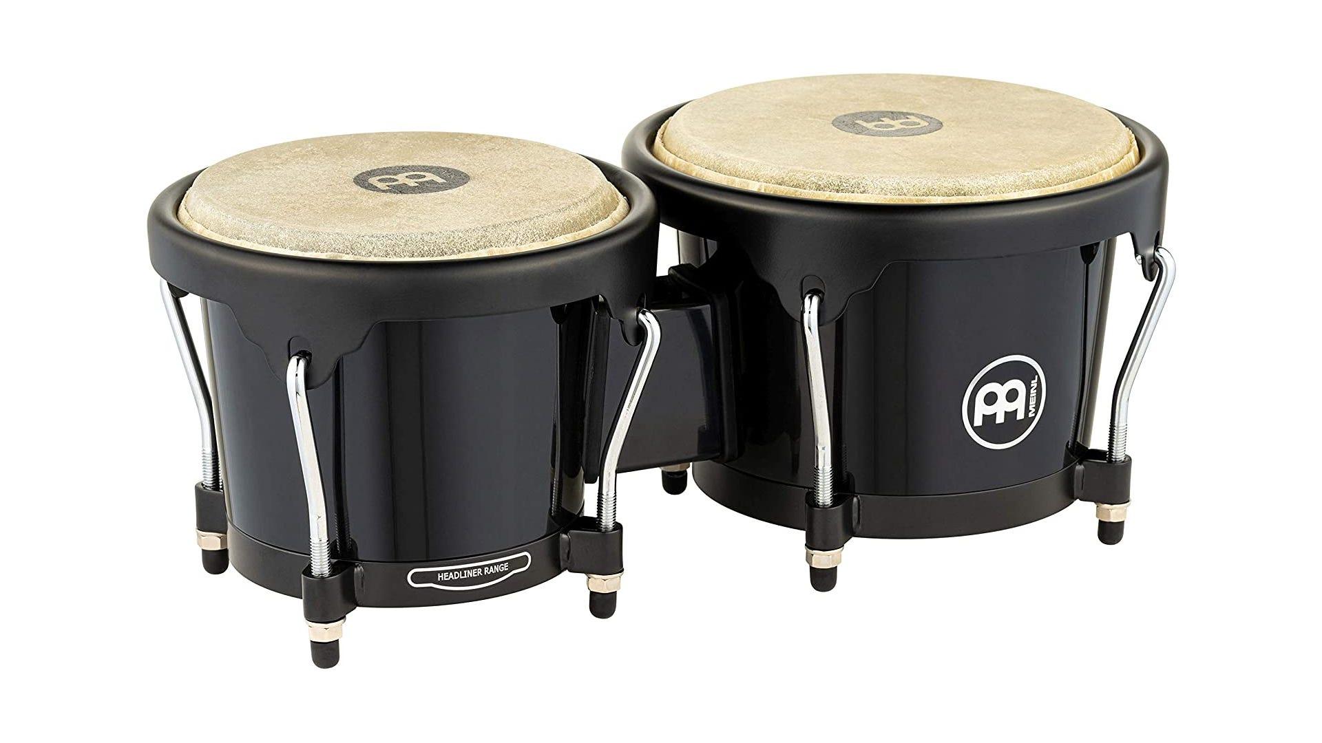 a set of attached black Meinl bongos