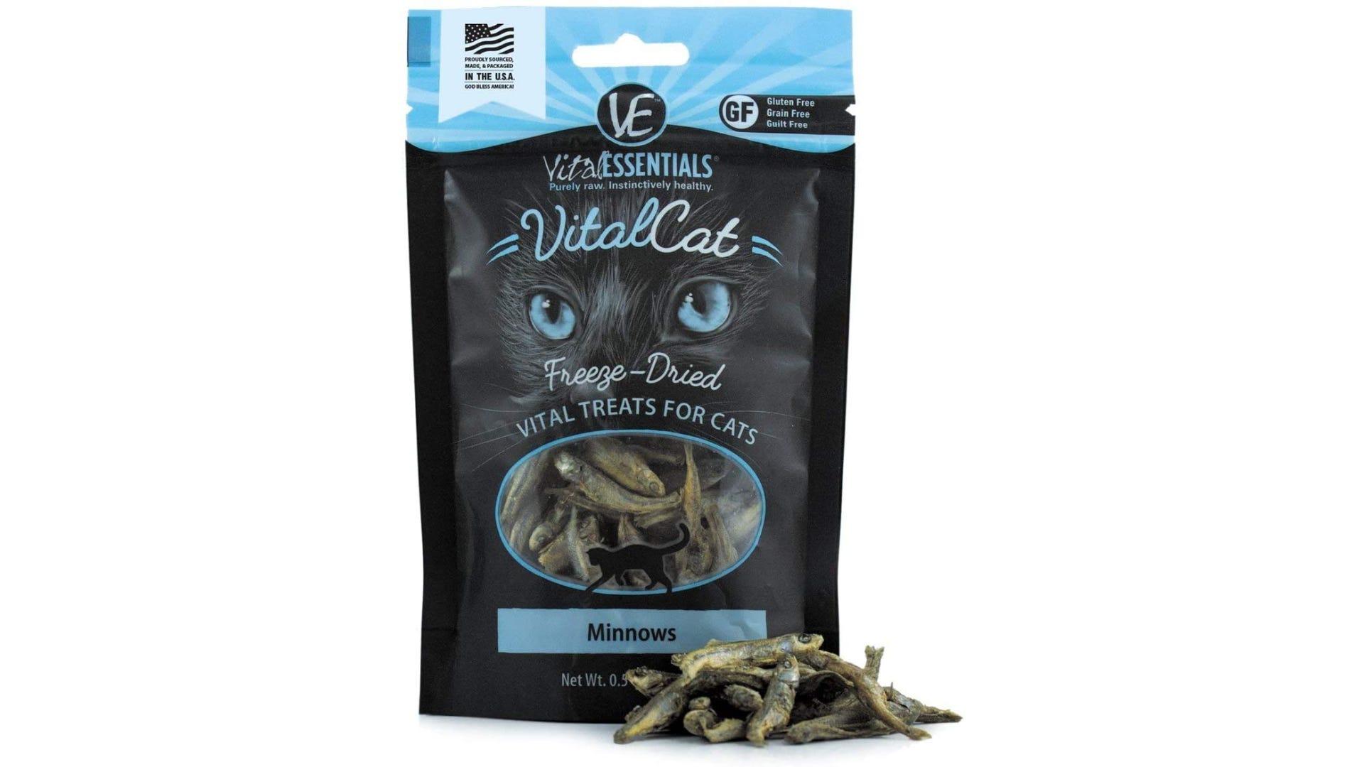 a bag of Vital Essentials freeze-dried minnows cat treats