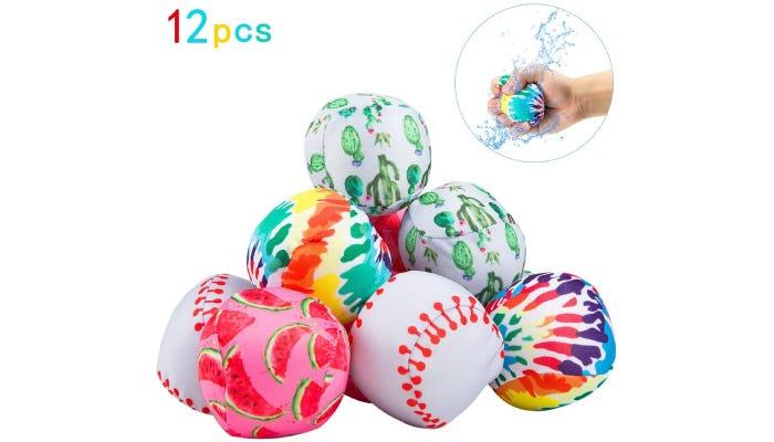 Pile of colorful, patterned splash balls
