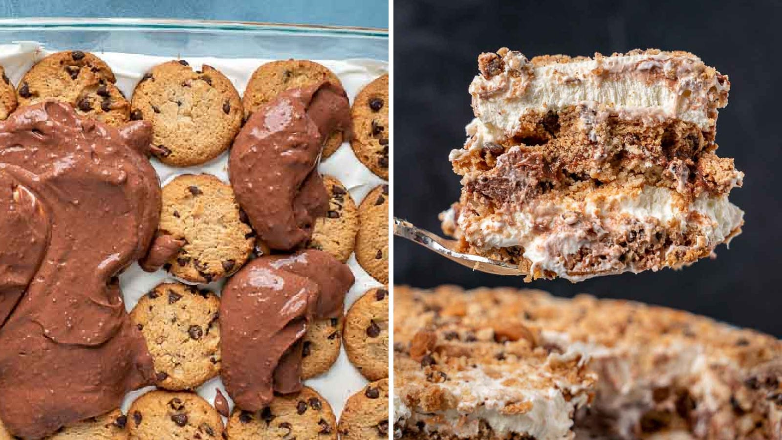 Two imeages featuring a chocolate chip icebox cake. The left image is of someone adding chocolate pudding over a cookies layer and the right image is a large cut out peice of the cake.