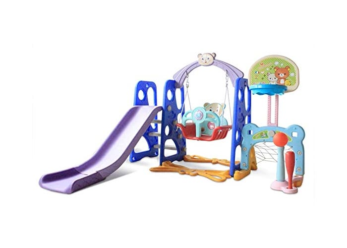 colorful toddler playhouse with a slide, swing, and multiple sport toys