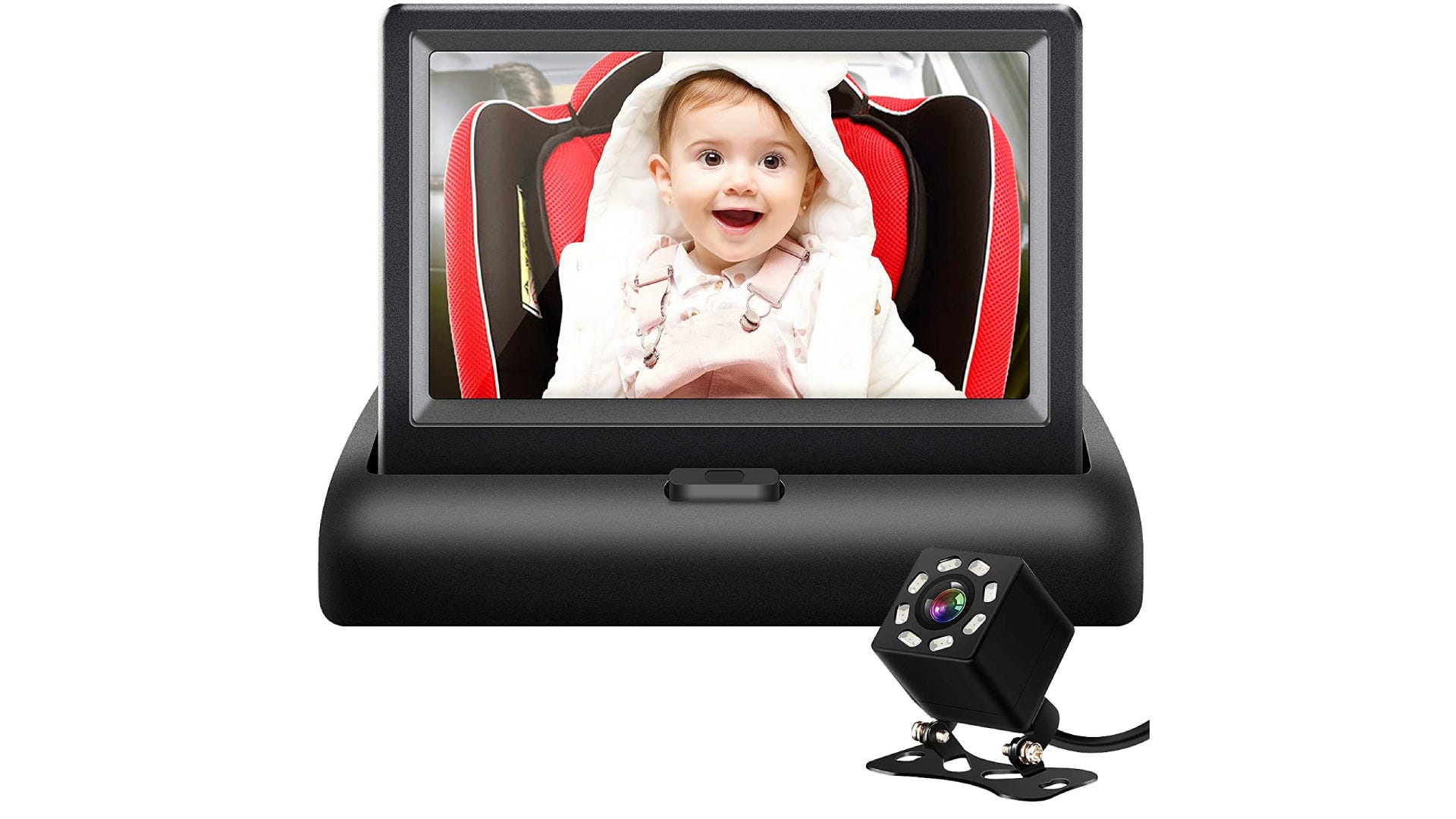 dashboard baby car seat mirror with camera viewing smiling baby