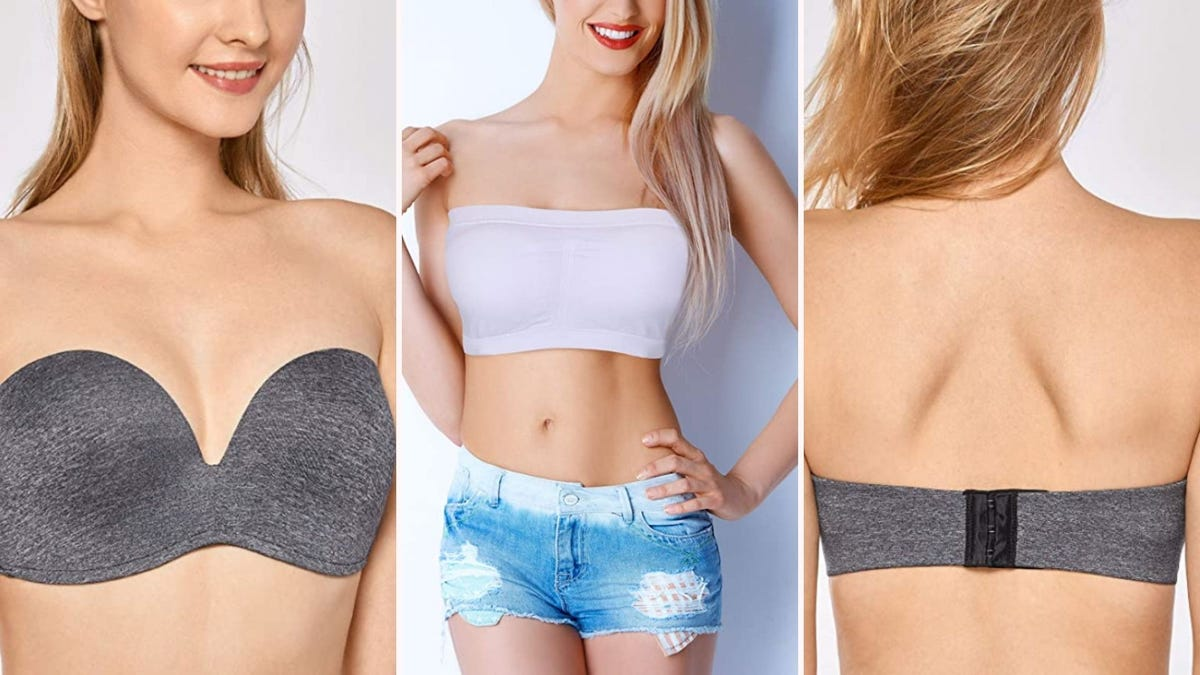 three women wearing strapless bras; one is straight across, one is sweetheart neckline, and one shows the back strap