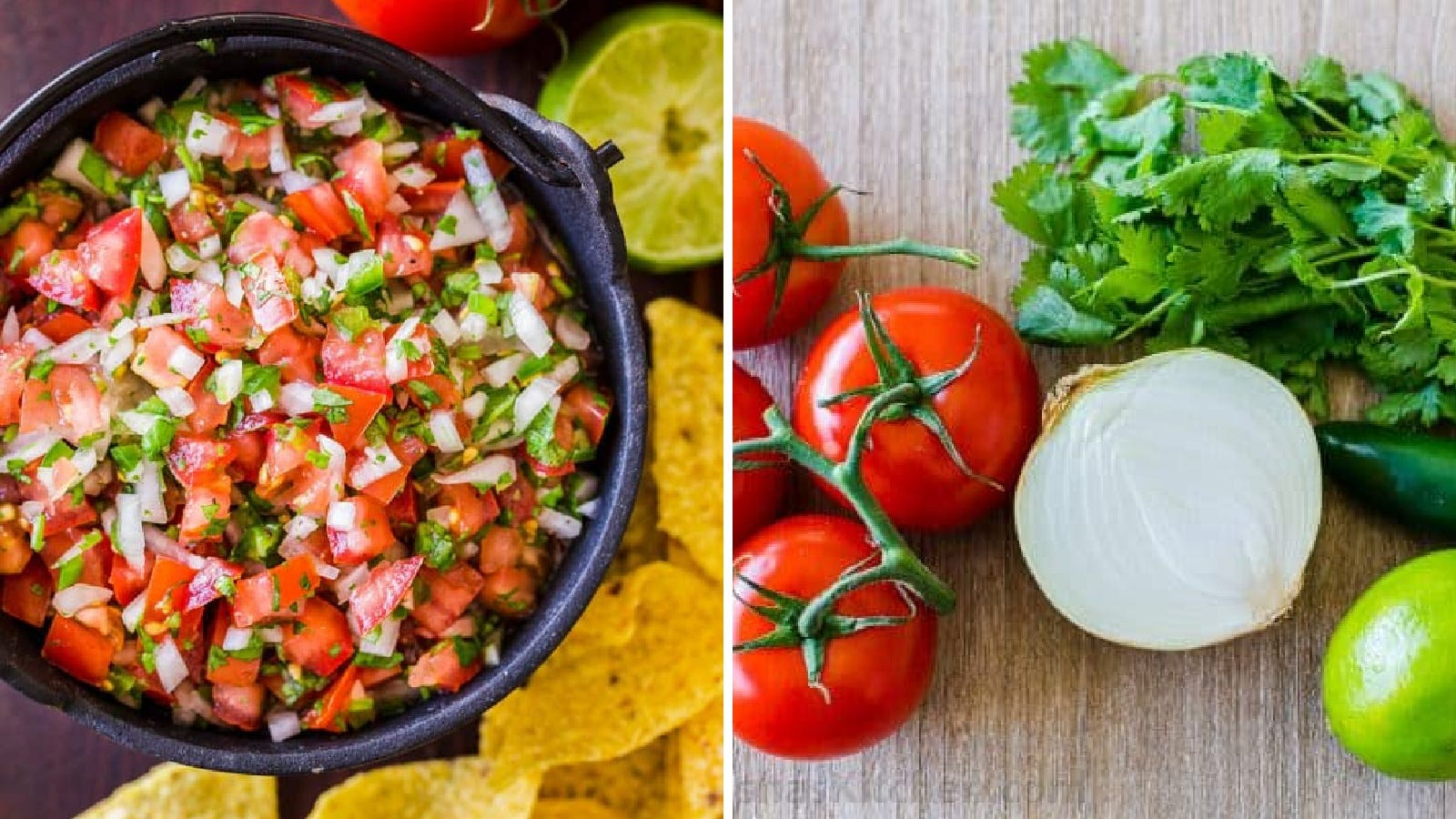 Two images: The left image features fresh pico de gallo with a side of tortilla chips and the right image features various ingredients used to make the pico de gallo including an onion, vine tomatoes, cilantro, lime and jalapeno.