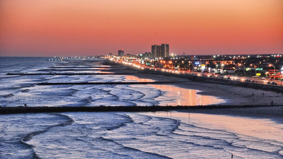 The beach in Galveston, Texas, at sunset.