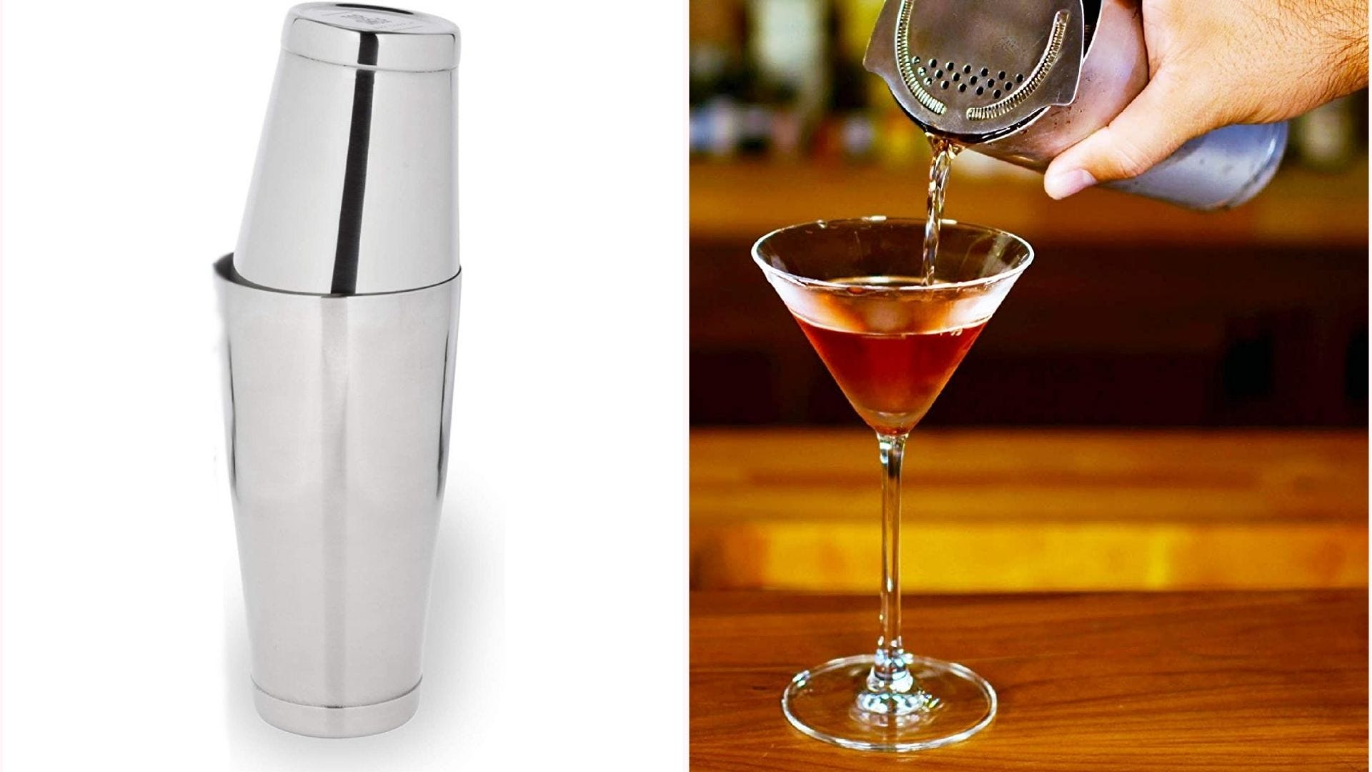 silver Boston cocktail shaker, with one cup on top of the other; a cocktail is being poured from the shaker into a glass in another picture