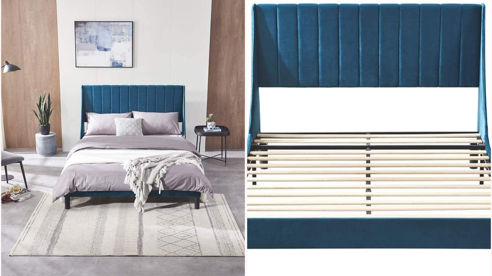 a teal velveteen bed frame with headboard and wooden slats