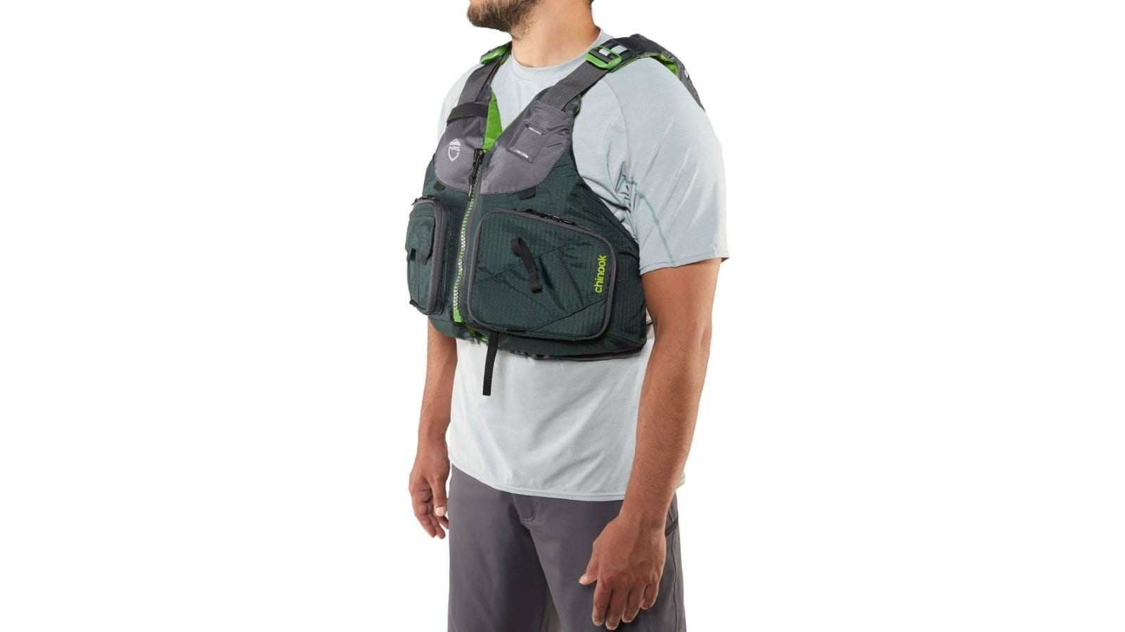 a fishing lift vest with two larger pockets on the front