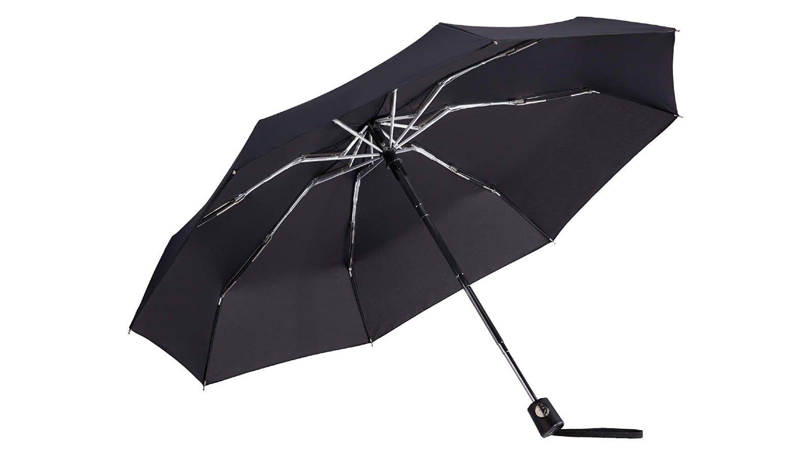 a black mini umbrella that's set up