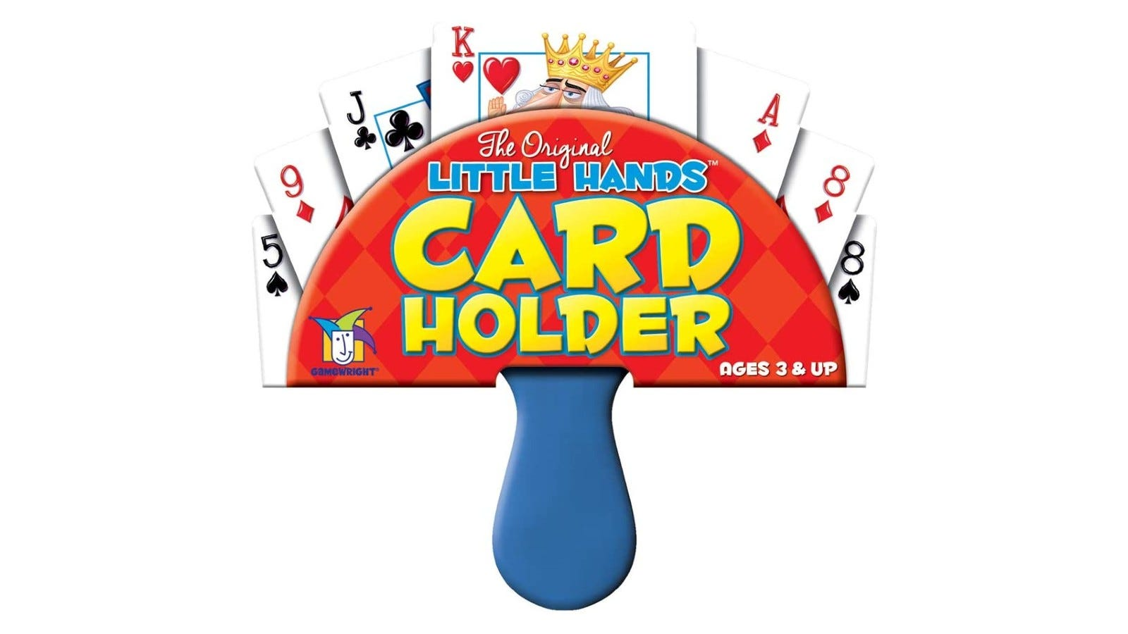 A small, children's playing card holder with cards in it