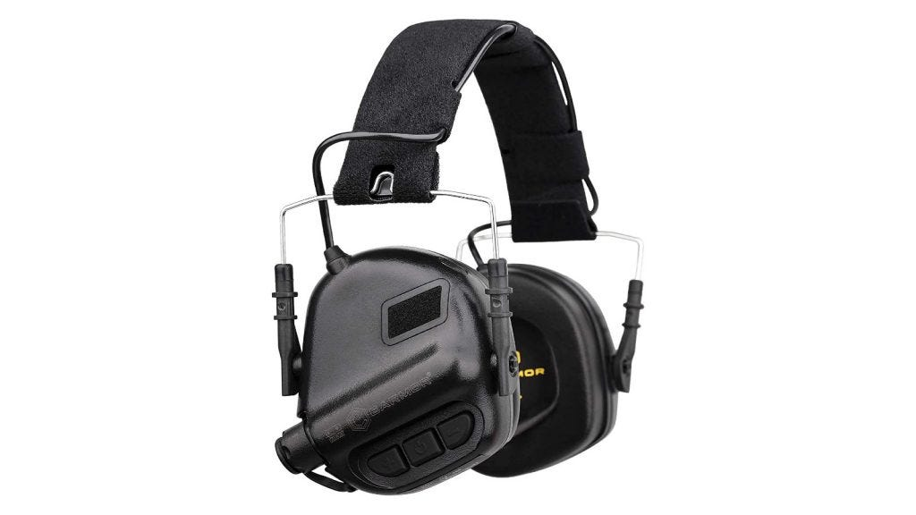 Electronic hearing protection with grey earmuffs and wire connections between the headband and muffs.