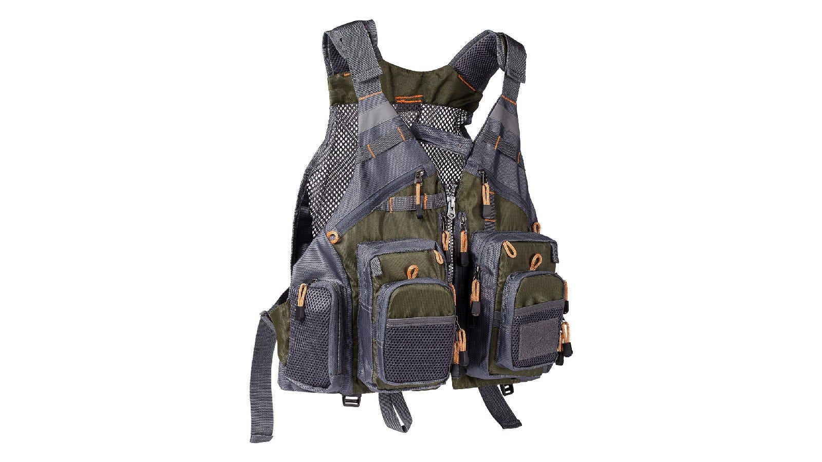 A fishing life vest with padded air mesh shoulder straps and several pockets