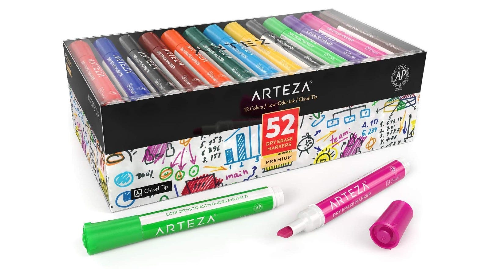 These dry erase markers come in many assorted colors