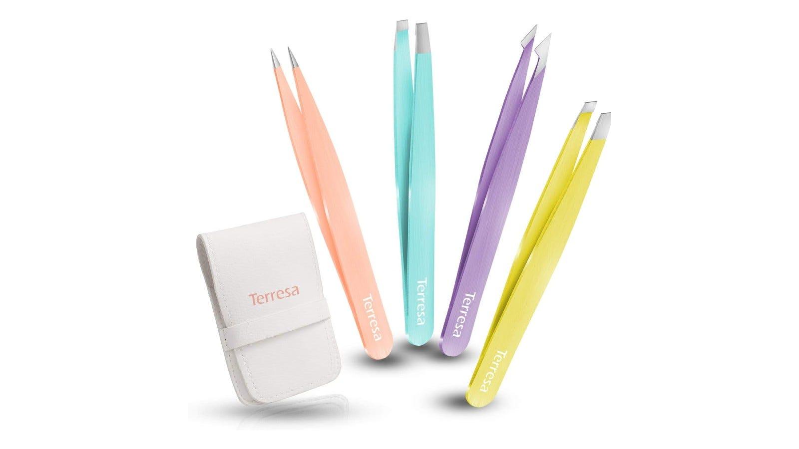 A set of tweezers that comes in four unique colors