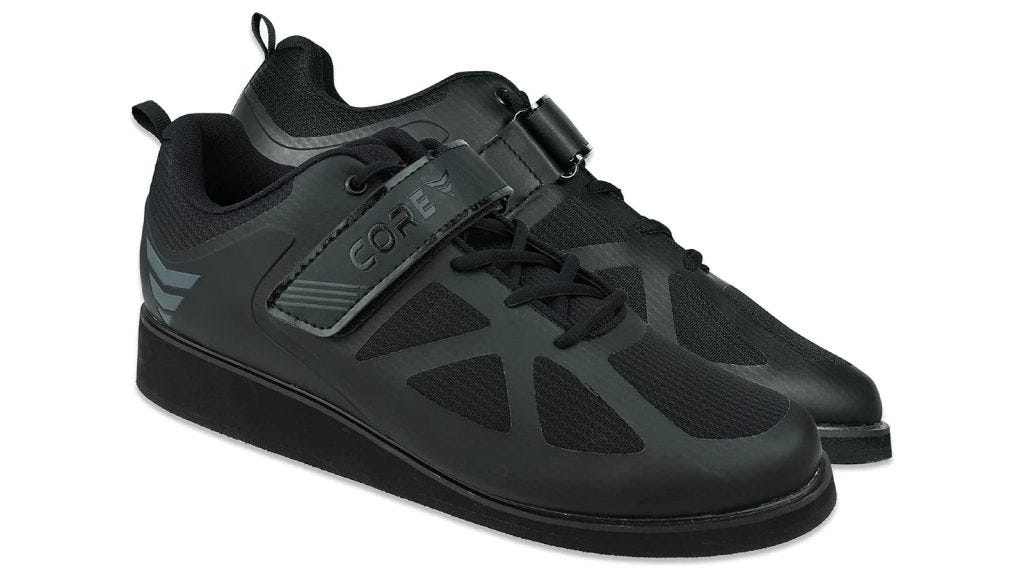 black weightlifting shoes that feature Velcro straps