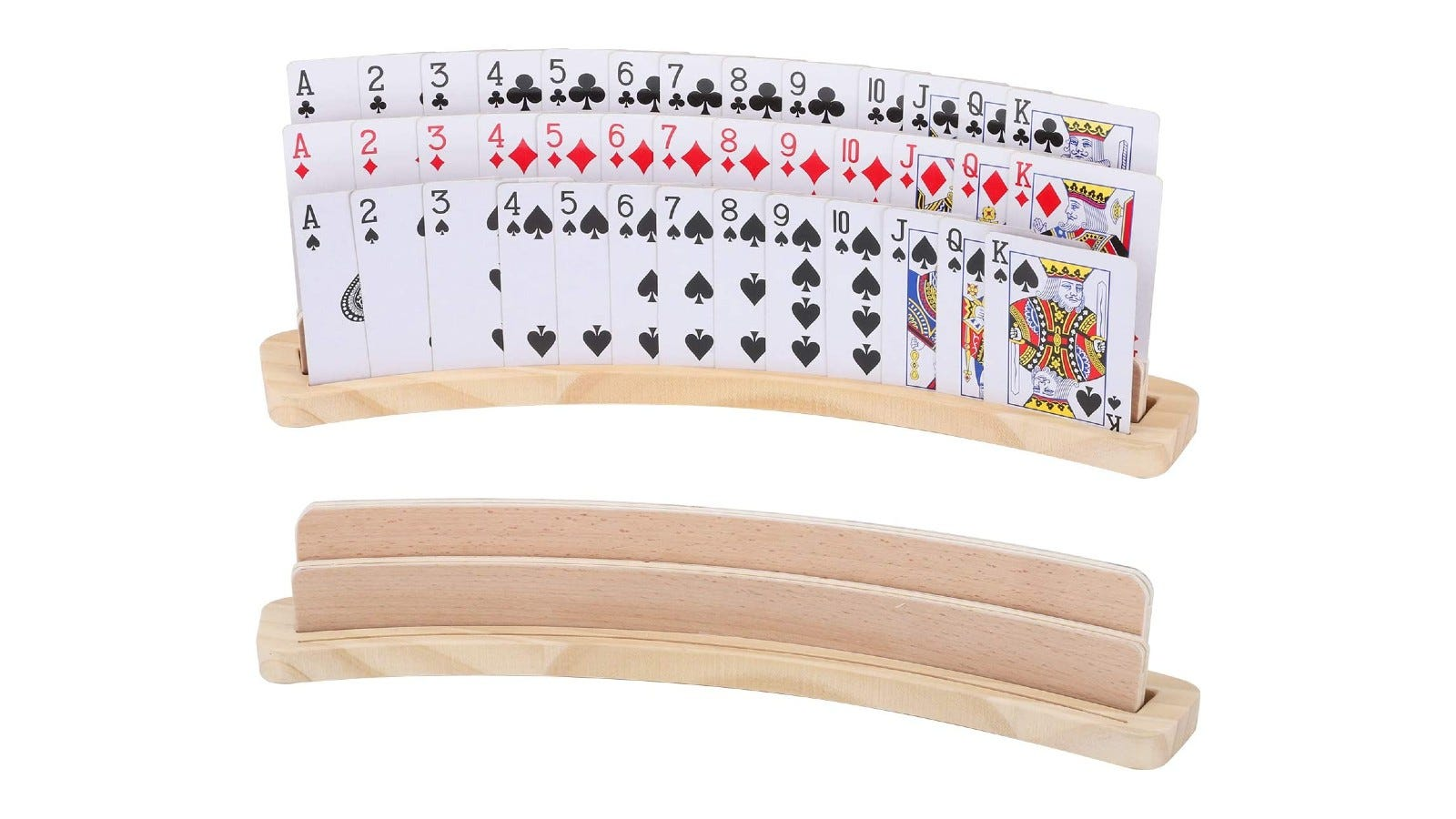 A large playing card holder made of wood and holding three suits of face cards