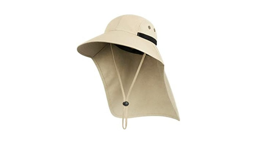 a tan sunhat with a back neck panel and a chin strap