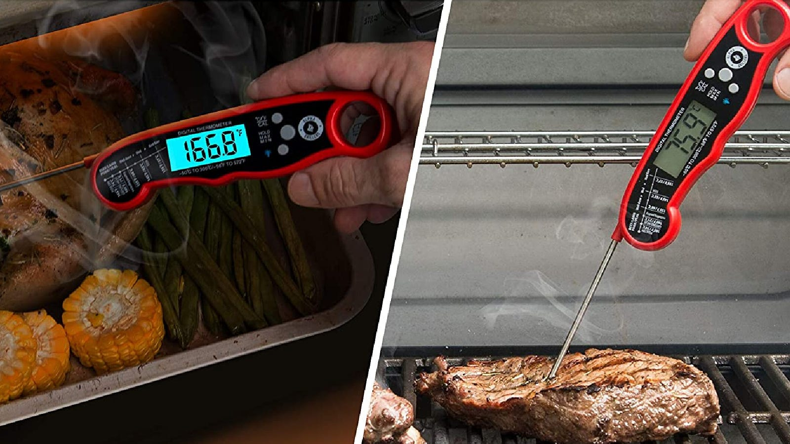Twom images featuring someone use the Alpha Grillers instant read thermometer.