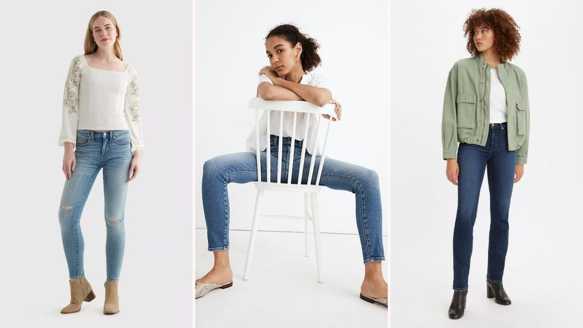 Three women wearing different types of blue jeans