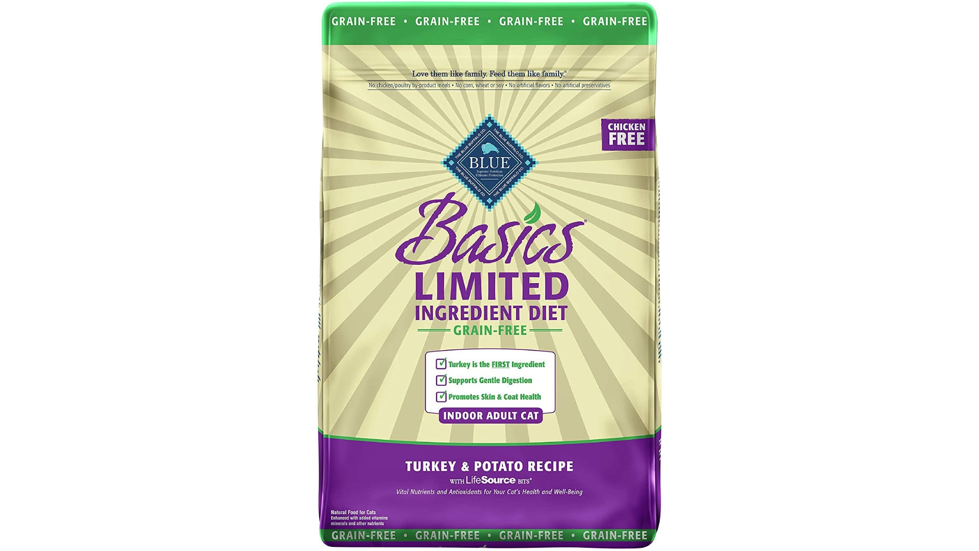 a bag of Blue Buffalo Basics dry cat food